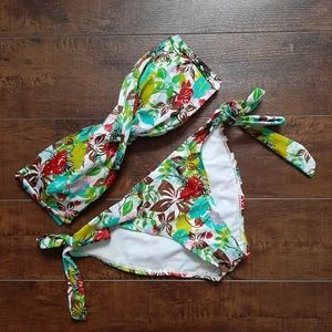 Ziki Twist Front Floral Bikini Size Small